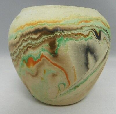 Nemadji Pottery Vase 4 inch  Beige Turquoise Orange Brown