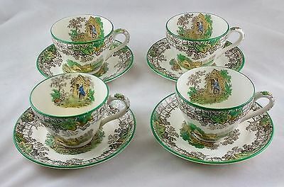 Vintage Copeland Spode's Byron Set of 4 Cups and Saucers - Made In England