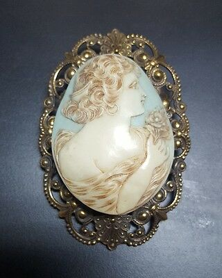 Antique Large Celluloid Victorian Lady Cameo Pendant/Brooch Filigree Blue