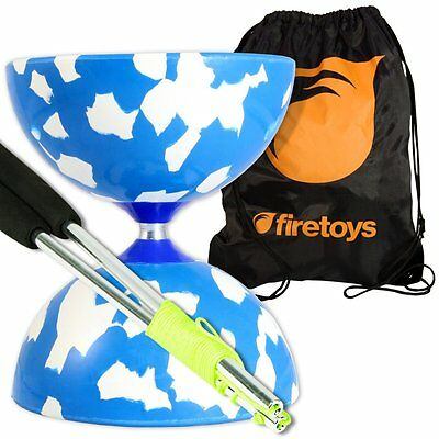 Jester Medium Diabolo Blu/W with Aluminum Diablo Sticks incl string & Firetoys®