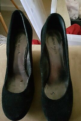 Nine West 0Black Suede Wedge Closed Shoe Genuine Leather Size 37