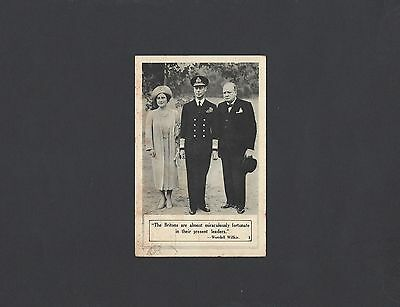 Vintage Postcard of King George VI & Queen Elizabeth with Mr.  Churchill  1941