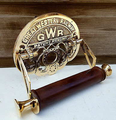 Great Western Railway (GWR) Vintage Design Victorian Toilet Roll Holder Brass