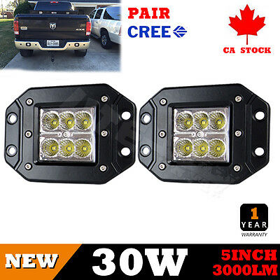 5Inch 30W LED Work Lights Flood Cree 4x4WD Offroad Boat SUV UTE Flush Mount