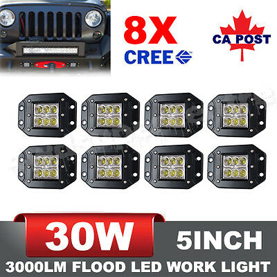 8Pcs 5Inch 30W Cree LED Light Bars Flood Work Driving Lamps Offroad Boat SUV UTE