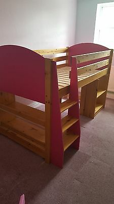 Verona Girls Pink / Pine mid sleeper Bed
