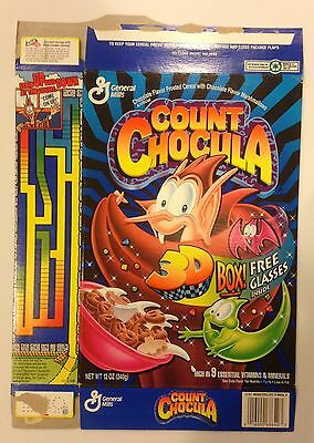 Vintage 1995 General Mills Count Chocula Cereal Box,3-D Art Gallery,With Glasses