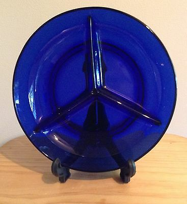 Vintage Cobalt Blue Glass 3 Section Serving Plate Bowl. Made in France