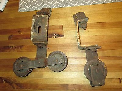 2 antique Vintage Cast Iron  Stay ON barn door rollers Farm Trolley BARN DOORS