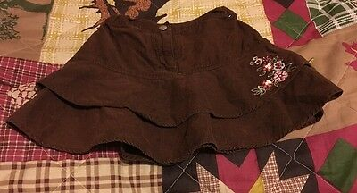 Girls Size 4 Gymboree Brown Corduroy Skirt Embroidered Flowers