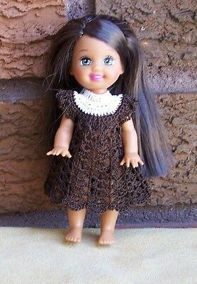 "Kelly 4 1/2"" Doll White & Dark Brown Dress Crocheted New"