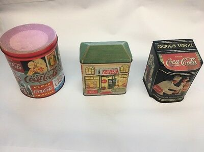 Vintage Coca Cola Tin Containers, Lot of 3