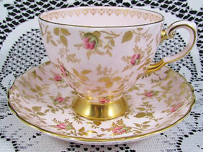 Tuscan Rosebud Pattern Gold  Foliage Pink Tea Cup And Saucer
