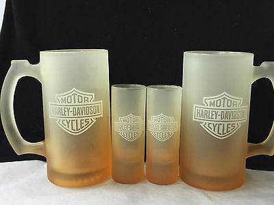 Harley Davidson glass frosted beer mug and shot glass set