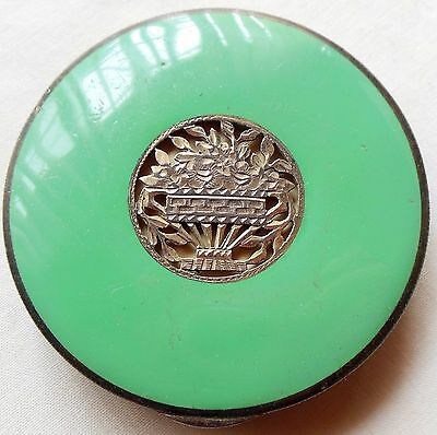 Early 1900s Sterling Silver & Green Enamel & Guilloche Compact Marked Austria