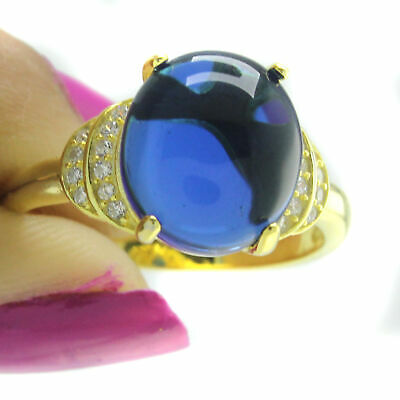 18K Yellow Gold Over Blue Opal /& CZ With Accent Engagement Ring 8 $279.96