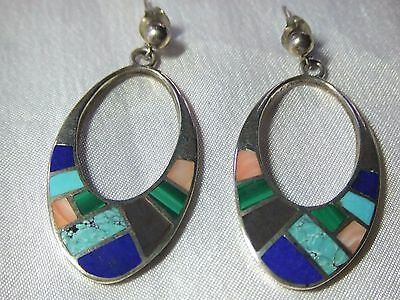 Vintage Signed Sterling Silver Navajo Teme Inlaid Earrings Lapis Turquoise 6.5g