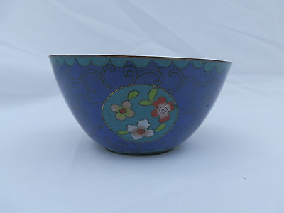 Antique Chinese Silver Wire Cloisonne Bowl, Late 19th Century Qing