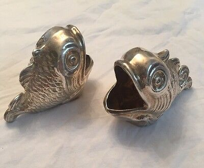ANTIQUE Beautiful Marked Spanish STERLING SILVER Ashtray(2) Fish Figure 166gr