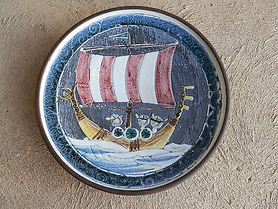 Swedish Mid Century Modern Tilgman's Keramic Art Pottery Decorative Plate Viking