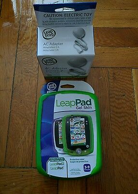 Leap Pad 1 & 2 Plug & Play Accessories Green Gel Skin & AC Adapter. Get it Now!