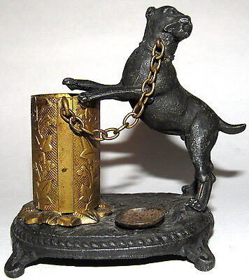 Antique Cast Iron Pitbull Chained To Cannister Matchstick Holder--Very Rare!!!