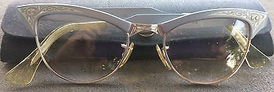 1950s American Optical 1/1012k Gold Filled Eyeglasses Frame Mid-Century Cat Eye