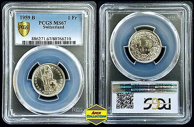 Silver 1959-B Switzerland 1 Franc PCGS MS67 Secure Gem BU UNC Uncirculated Coin