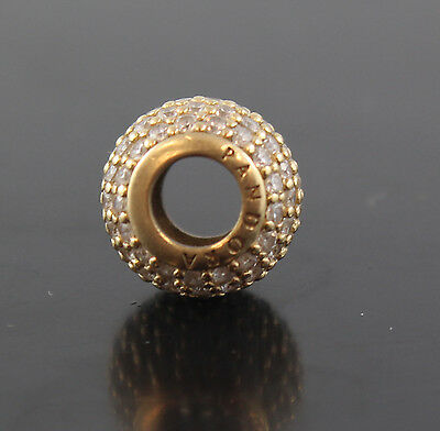 Pandora 750819CZ Bead/Charm Pave Lights Cubic Zirconia 14k Yellow Gold