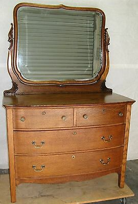 Antique Victorian Quarter Sawn Solid Oak Bow Front Dresser With Beveled Mirror