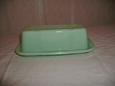 Jadite Glass Butter Dish for Quarters