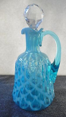 Rare Northwood/hobbs Brockunier Blue Opalescent Ribbed Opal Lattice Cruet