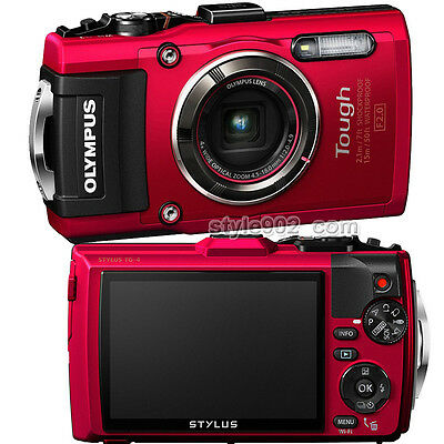 Original Olympus STYLUS Tough TG-4 16.0 MP Waterproof Digital Camera - Red