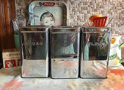 Vintage Lincoln BeautyWare Flour, Sugar, Coffee, Tea Metal Canisters