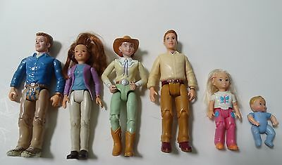Lot of 6 Dollhouse people, Fisher Price Loving Family, one in riding outfit