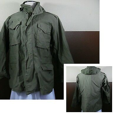 VTG VIETNAM ERA M-65 ARMY MENS COLD FIELD JACKET COAT Hooded Tag Missing XL