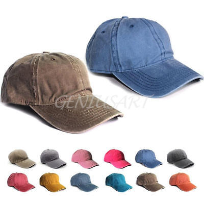 Plain Washed Cap Polo Style Cotton Adjustable Baseball Cap Blank Solid Hat A U