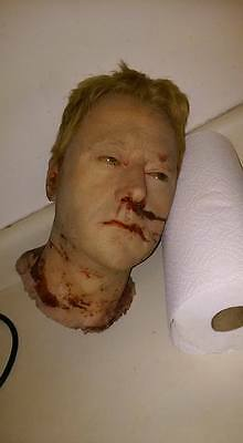 SCREEN USED SILICONE DECAPITATED HEAD. Super realistic horror movie prop.