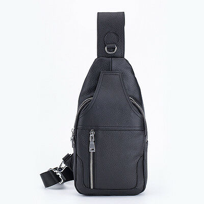 Black Men Genuine Leather Chest Bag Leisure Backpack Cowhide Shoulder Bag