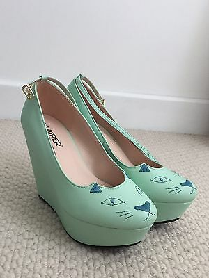 Mint Green Cat Wedges Shoes Heels 6.5
