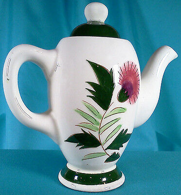 """Vintage Stangl 6"""" Teapot Thistle Pattern Pottery with Artist Mark 1940s-50s"""