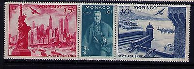 Monaco Airmail Stamps 1947, STRIP  # 25-7 MNH
