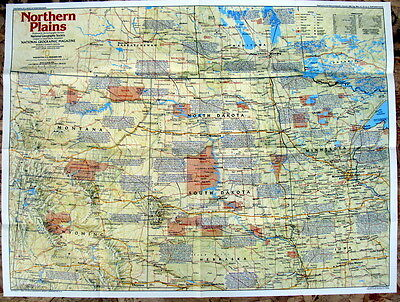 Northern Plains  Making America National Geographic Map / Poster December 1986
