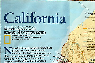 California / Coastal California USA National Geographic Map Poster July 1993