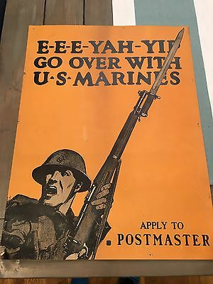 Original WW1 Print Poster Art Eee-yah-yip Go Over With Us Marines Postmaster War