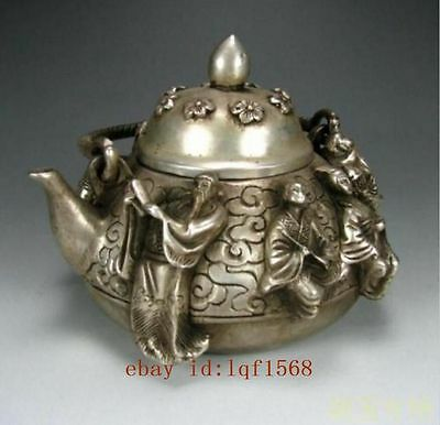 Collection Old Chinese of Tibet silver carving eight teapot