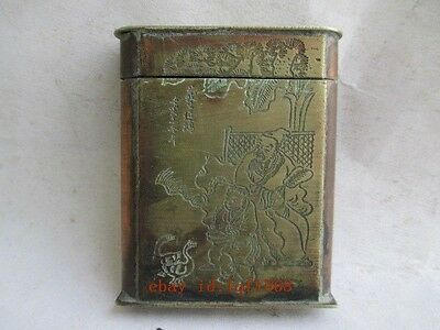 Old  carving craft to pray the Buddha amulet exorcism and scalable box