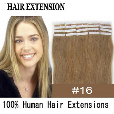 2pcs #16 Golden Brown 124'' 100% Remy PU Tape Human Hair Extensions 7g Total