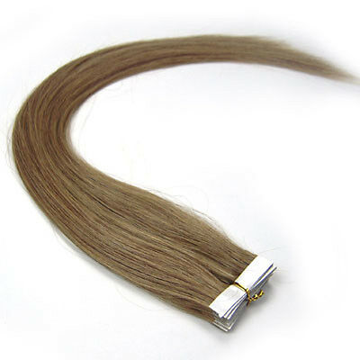 2pcs #12 Light Brown 24'' 100% Remy PU Tape Human Hair Extensions 7g Total