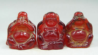 Rare Oriental Vintage Handwork color Amber Carved beautifully 3pc Buddha statue